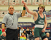 Jack Ward of Locust Valley raises his arm after his victory at 145 pounds over Richie Moretta of Carle Place-Wheatley in the Nassau County Division II varsity wrestling finals at Cold Spring Harbor High School on Saturday, Feb. 10, 2018.