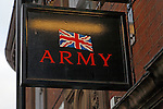 Union Jack sign outside British Army recruitment office