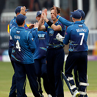 High-fives all round as Matt Henry of kent takes the wicket of Davies during the Royal London One Day Cup game between Kent and Somerset at the St Lawrence Ground, Canterbury, on May 29, 2018