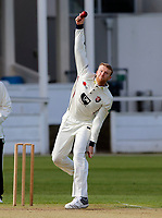 Adam Riley bowls for Kent during the friendly game between Kent CCC and Surrey at the St Lawrence Ground, Canterbury, on Thursday Apr 5, 2018