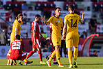 Chris Ikonomidis of Australia (2nd R) celebrates the team's winning with teammate Apostolos Giannou after the AFC Asian Cup UAE 2019 Group B match between Palestine (PLE) and Australia (AUS) at Rashid Stadium on 11 January 2019 in Dubai, United Arab Emirates. Photo by Marcio Rodrigo Machado / Power Sport Images