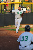 Aaron Brooks #50 of the Clinton LumberKings warms up in the bullpen during their game against the South Bend Sliver Hawks at Ashford University Field on July 26, 2014 in Clinton, Iowa. The Sliver Hawks won 2-0.   (Dennis Hubbard/Four Seam Images)