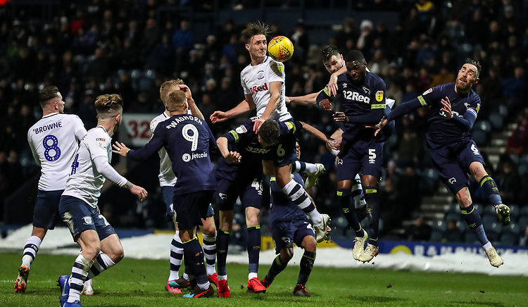 Preston North End's Ben Davies heads at goal<br /> <br /> Photographer Andrew Kearns/CameraSport<br /> <br /> The EFL Sky Bet Championship - Preston North End v Derby County - Friday 1st February 2019 - Deepdale Stadium - Preston<br /> <br /> World Copyright © 2019 CameraSport. All rights reserved. 43 Linden Ave. Countesthorpe. Leicester. England. LE8 5PG - Tel: +44 (0) 116 277 4147 - admin@camerasport.com - www.camerasport.com