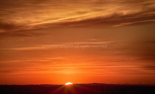 Sunrise over the Quabbin from Pelham Overlook on Route 202.