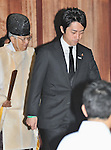 August 15, 2012, Tokyo, Japan - Japan's lower house member, Shinjiro Koizumi visits Yasukuni Shrine to pay his respects for the war dead on August 15, 2012 in Tokyo, Japan. (Photo by AFLO)