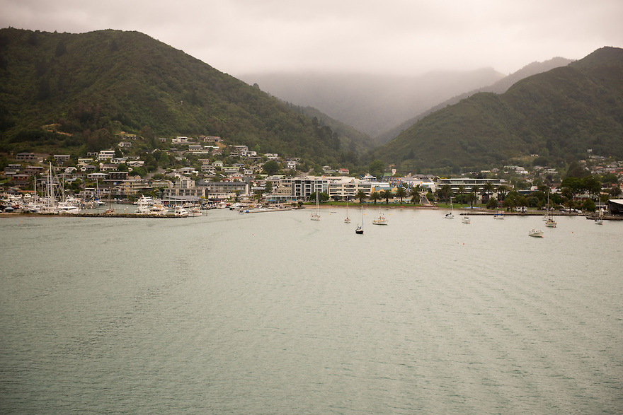 The port town of Picton sits in the Marlborough Sounds on New Zealand's South Island.
