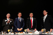United States President Donald Trump (2nd R) at the National Prayer Breakfast February 2, 2017 in Washington, DC. Every U.S. president since Dwight Eisenhower has addressed the annual event. Also pictured (L-R) are Rep. Robert Aderholt (R-AL), television producer Mark Burnett, and Sen. John Boozman (R-AR).  <br /> Credit: Win McNamee / Pool via CNP