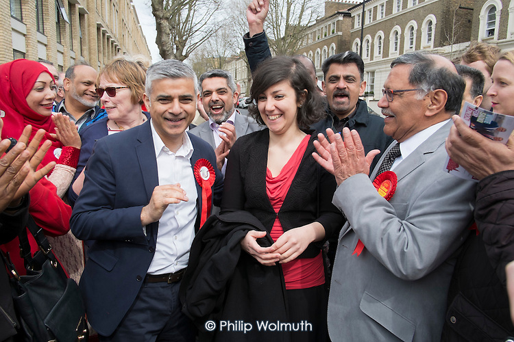 Sadiq Khan, Labour candidate for Mayor of London with party supporters, Kilburn.