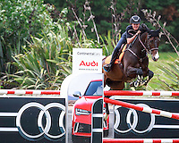 NZL-Brayden Aarts rides Binverter for Thoroughbred Floats during the Sponsors Charity Challenge Invitation Only Class. 2017 NZL-Showjumping Waitemata World Cup Show, Woodhill Sands, Helensville. Sunday 15 January. Copyright Photo: Libby Law Photography