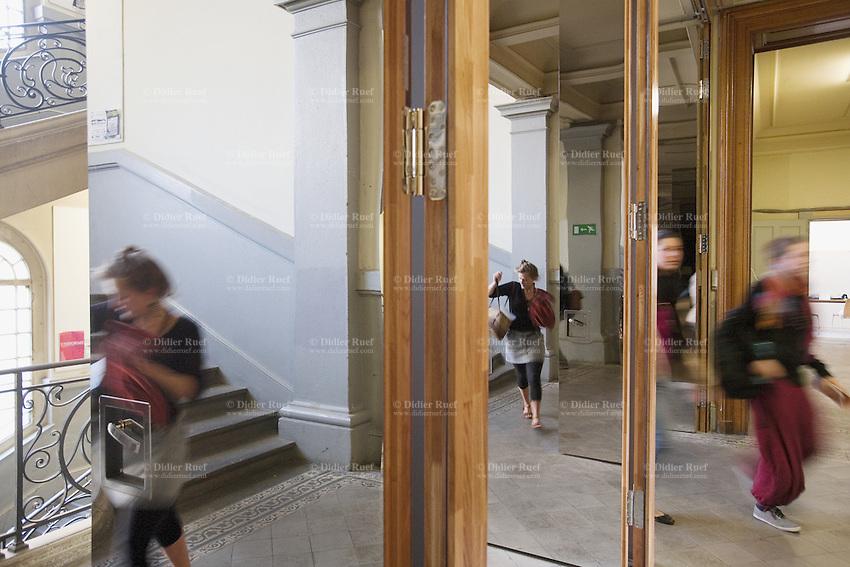 Switzerland. Geneva. Building of the Haute Ecole d'Art et de Design (HEAD). Anti-fire steel security door. Concept by the architects F. Graf & J. Menoud. 29.09.2009 © 2009 Didier Ruef ....