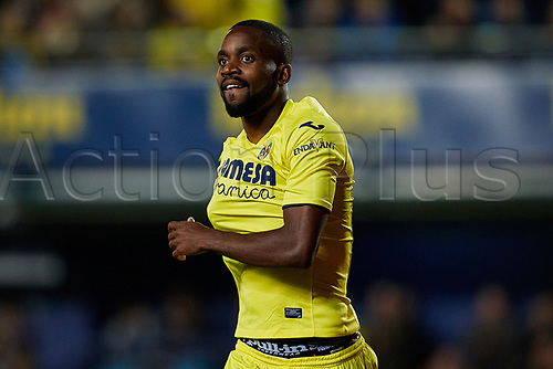 April 28th 2017, Vila-real, Castellon, Spain, La Liga football league, Vilarreal versus Real Sporting de Gijon; Cedric Bakambu of Villarreal CF celebrates a goal in the 46th minute to make it 2-0;