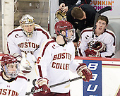 Brian Billett (BC - 1), Patrick Wey (BC - 6), Bert Lenz (BC - Trainer), Patch Alber (BC - 3) - The Boston College Eagles defeated the University of Massachusetts-Amherst Minutemen 3-2 to take their Hockey East Quarterfinal matchup in two games on Saturday, March 10, 2012, at Kelley Rink in Conte Forum in Chestnut Hill, Massachusetts.