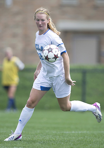 September 01, 2013:  UCLA midfielder Samantha Mewis (22) during NCAA Soccer match between the Notre Dame Fighting Irish and the UCLA Bruins at Alumni Stadium in South Bend, Indiana.  UCLA defeated Notre Dame 1-0.