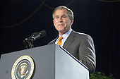 United States President George W. Bush makes remarks at the Malcolm Baldridge Awards ceremony in Alexandria, Virginia on April 6, 2001.  Prior to his prepared remarks, The President announced that General Sealock had seen the 24 Navy detainees in China.<br /> Credit: Ron Sachs - Pool / CNP