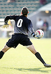 Wake goalkeeper Brian Edwards throws the ball on Tuesday, November 8th, 2005 at SAS Stadium in Cary, North Carolina. The Wake Forest Demon Deacons defeated the Boston College Eagles 4-0 during their Atlantic Coast Conference Tournament Play-In game.