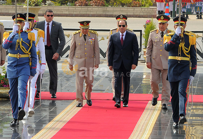 Egyptian President Abdel Fattah al-Sisi laying a wreath at the tomb of  late Martyrs of the Armed Forces ,in Cairo, Egypt  on 23 April 2017. Photo by Egyptian President Office
