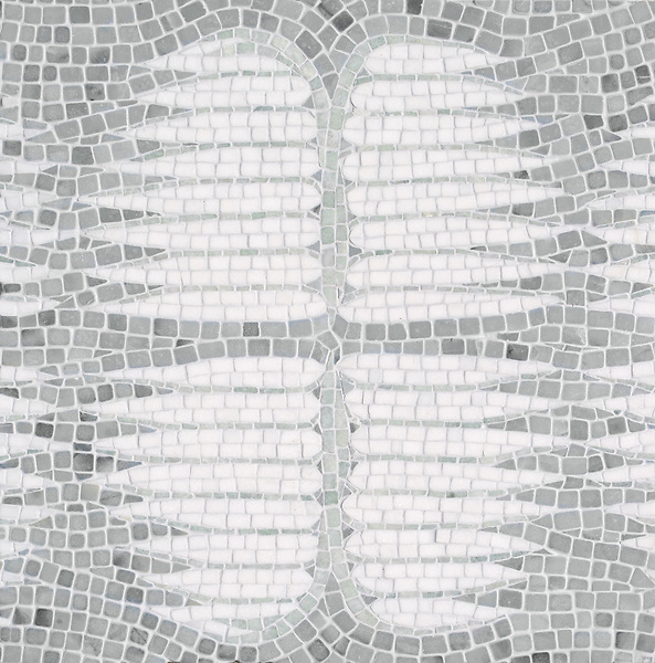 Wings, a hand-chopped stone mosaic, shown in tumbled Ming Green, Bardilgio, and Thassos. Designed by Joni Vanderslice as part of the J. Banks Collection for New Ravenna.