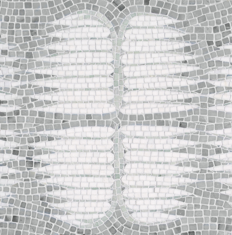 Wings, a hand-chopped stone mosaic, shown in tumbled Ming Green, Pacifica, and Thassos. Designed by Joni Vanderslice as part of the J. Banks Collection for New Ravenna.