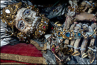 BNPS.co.uk (01202) 558833<br /> Picture: Paul Koudounaris/BNPS<br /> <br /> ***Please use full byline***<br /> <br /> Dripping with gold and jewels - lid finally lifted on the incredible remains of the Catholic saints.<br /> <br /> St Valerius in Weyarn.<br /> <br /> A relic hunter dubbed 'Indiana Bones' has lifted the lid on a macabre collection of 400-year-old jewel-encrusted skeletons unearthed in churches across Europe. <br /> <br /> Art historian Paul Koudounaris has hunted down and photographed dozens of gruesome skeletons in some of the world's most secretive religious establishments.<br /> <br /> Incredibly, some of the skeletons, which took up to five years to decorate, were even found hidden away in lock-ups and containers. <br /> <br /> They are now the subject of his latest book, which sheds light on the forgotten ornamented relics for the first time.