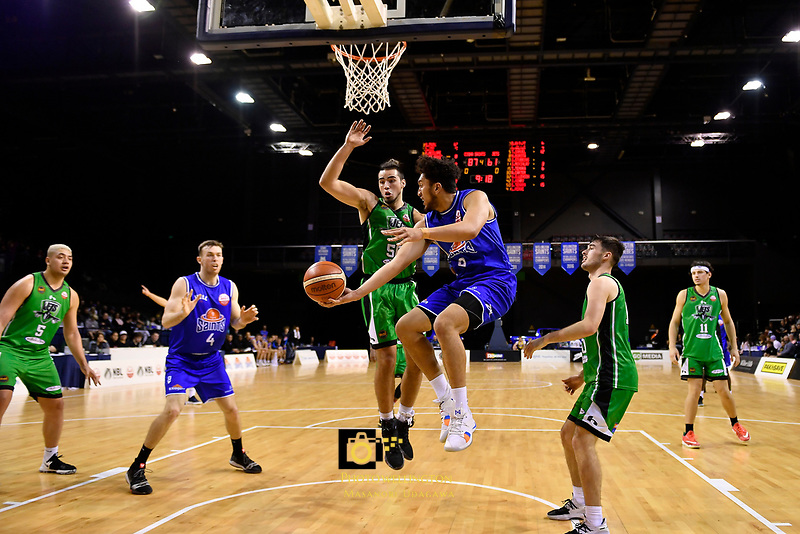 Saints' Theo Johnson in action during the NBL - Cigna Saints v Manawatu Jets at TSB Bank Arena, Wellington, New Zealand on Sunday 30 June 2019. <br /> Photo by Masanori Udagawa. <br /> www.photowellington.photoshelter.com