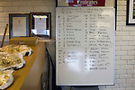 The team line-ups written on a white board in the clubhouse before Edinburgh University took on Selkirk in a Scottish Lowland League match at Peffermill, Edinburgh in a game the hosts won 3-2. The match was one of six attended by members of GroundhopUK over the weekend to accommodate groundhoppers, fans who attempt to visit as many football venues as possible. Around 100 fans in two coaches from England participated in the 2016 Lowland League Groundhop and they were joined by other individuals from across the UK which helped boost crowds at the six featured matches.