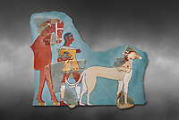 Mycenaean Fresco wall painting of a Mycanaean footman leading a horse & hunting dog,  Tiryns, Greece. 14th - 13th Century BC. Athens Archaeological Museum. Cat No 5878.  Grey art Background