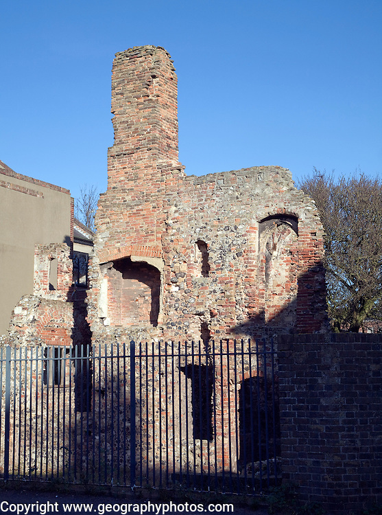 Ruins of medieval Greyfriar's Cloisters, Great Yarmouth, Norfolk, England