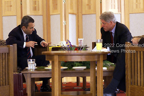United States President Bill Clinton Meets With Prime Minister Barak of Israel at the U.S. Fish and Wildlife Center, Shepherdstown, West Virginia, January 3, 2000..Mandatory Credit: David Scull / White House via CNP