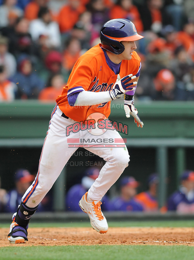 Right fielder Steven Duggar (9) of the Clemson Tigers in a game against the South Carolina Gamecocks on Saturday, March 2, 2013, at Fluor Field at the West End in Greenville, South Carolina. Clemson won the Reedy River Rivalry game 6-3. (Tom Priddy/Four Seam Images).