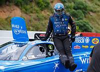 Jun 18, 2017; Bristol, TN, USA; NHRA funny car driver Tommy Johnson Jr during the Thunder Valley Nationals at Bristol Dragway. Mandatory Credit: Mark J. Rebilas-USA TODAY Sports