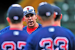 24 July 2010: Lowell Spinners Manager Bruce Crabbe has words for his team prior to a game against the Vermont Lake Monsters at Centennial Field in Burlington, Vermont. The Spinners defeated the Lake Monsters 11-5 in NY Penn League action. Mandatory Credit: Ed Wolfstein Photo