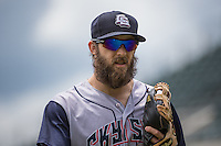 Bryan Petersen (11) of the Colorado Springs Sky Sox during the game against the Salt Lake Bees in Pacific Coast League action at Smith's Ballpark on May 24, 2015 in Salt Lake City, Utah.  (Stephen Smith/Four Seam Images)