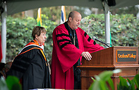 President Jonathan Veitch confers an Honorary Degree to speaker Cathie Selleck '55<br /> Families, friends, faculty, staff and distinguished guests celebrate the class of 2018 during Occidental College's 136th Commencement ceremony on Sunday, May 20, 2018 in the Remsen Bird Hillside Theater.<br /> (Photo by Marc Campos, Occidental College Photographer)