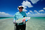 Handheld bonefish in Christmas Island