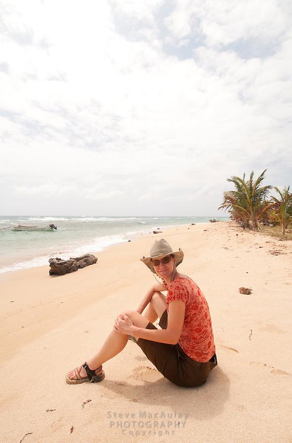 Young woman on beach, Big Corn Island, Nicaragua