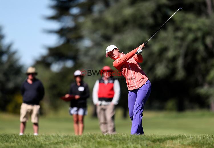 Rose Zheng during the New Zealand Amateur Golf Championship final against Silvia Brunotti at Russley Golf Course, Christchurch, New Zealand. Sunday 5 November 2017. Photo: Simon Watts/www.bwmedia.co.nz