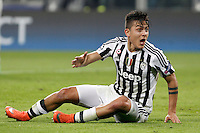 Calcio, andata degli ottavi di finale di Champions League: Juventus vs Bayern Monaco. Torino, Juventus Stadium, 23 febbraio 2016. <br /> Juventus' Paulo Dybala sits on the pitch during the Champions League round of 16 first leg soccer match between Juventus and Bayern at Turin's Juventus Stadium, 23 February 2016.<br /> UPDATE IMAGES PRESS/Isabella Bonotto