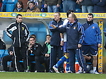 Fourth official Andrew Dallas with Kenny Shiels as Manuel Pascali gets sent off