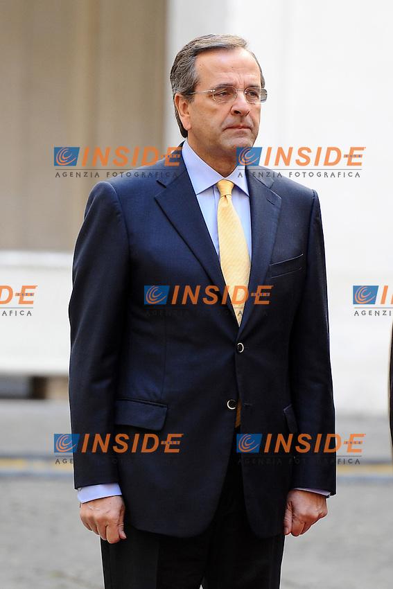 il primo Ministro Greco Antonis Samaras. .Roma, 21/09/2012.Palazzo Chigi, picchetto d'onore.Foto Insidefoto / Antonietta Baldassarre.