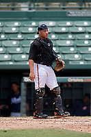 GCL Orioles catcher Christopher Burgess (48) during a Gulf Coast League game against the GCL Braves on August 5, 2019 at Ed Smith Stadium in Sarasota, Florida.  GCL Orioles defeated the GCL Braves 4-3 in the second game of a doubleheader.  (Mike Janes/Four Seam Images)