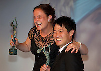 "France, Paris, 03.06.2014. Tennis, French Open, Roland Garros, ITF Champions diner, World Champions Wheelchair tennis Shingo Kunieda (JPN) and Aniek van Koot (NED)receive their trophy""s<br /> Photo:Tennisimages/Henk Koster"
