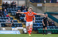 Cameron McGeehan of Luton Town celebrates scoring the winning goal during the Sky Bet League 2 match between Wycombe Wanderers and Luton Town at Adams Park, High Wycombe, England on 6 February 2016. Photo by Andy Rowland.
