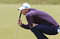 Nicolas Colsaerts (BEL) on the 13th green during Thursday's Round 1 of the 2018 Dubai Duty Free Irish Open, held at Ballyliffin Golf Club, Ireland. 5th July 2018.<br /> Picture: Eoin Clarke | Golffile<br /> <br /> <br /> All photos usage must carry mandatory copyright credit (&copy; Golffile | Eoin Clarke)