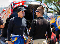 Apr 23, 2017; Baytown, TX, USA; NHRA tfunny car driver Ron Capps (left) with Jonnie Lindberg during the Springnationals at Royal Purple Raceway. Mandatory Credit: Mark J. Rebilas-USA TODAY Sports