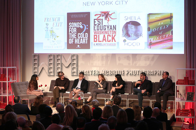 Parul Sehgal, Patrick DeWitt, Eric DuPont, Shela Heti, Thea Lim, Michael Redhill and Peter McCambridge during the Scotiabank Giller Prize 25 Finalists: Between The Pages at the New Museum on November 7, 2018 in New York City.