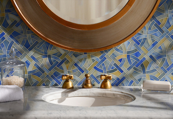 Poco Via, a waterjet mosaic shown in Chalcedony jewel glass, is part of the Miraflores collection by Paul Schatz for New Ravenna Mosaics.