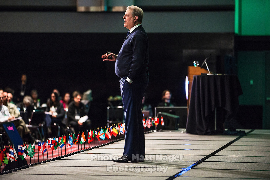 Vice President Al Gore speaks during his climate change slide show and lecture at the Climate Reality Project Leadership Corps Training at the Convention Center in Denver, Colorado, Thursday, March 2, 2017. The three day application only event trains people on climate change issues and teaches volunteers how to better engage with their communities through social media and public outreach. <br /> <br /> Photo by Matt Nager