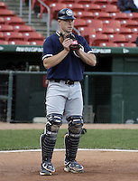 June 4, 2004:  Catcher David Parrish of the Columbus Clippers, International League (AAA) affiliate of the New York Yankees, during a game at Dunn Tire Park in Buffalo, NY.  Photo by:  Mike Janes/Four Seam Images