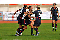 Lauren Cheney celebrates her goal with Lori Lindsey and Abby Wambach.  The USWNT defeated Iceland (2-0) at Vila Real Sto. Antonio in their opener of the 2010 Algarve Cup on February 24, 2010.