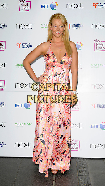LIZ FULLER .Cystic Fibrosis Trust Breathing Life Awards 2008 at the Hilton Metropole Hotel, London, England..May 28th 2008 .full print pink dress halterneck patterned long maxi hand on hip.CAP/CAN.©Can Nguyen/Capital Pictures.